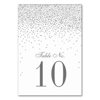 Vintage Glam Silver Confetti Wedding Table Number