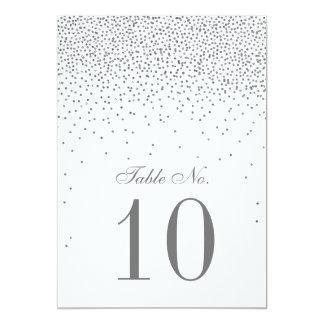 Vintage Glam Silver Confetti Wedding Table Number 13 Cm X 18 Cm Invitation Card