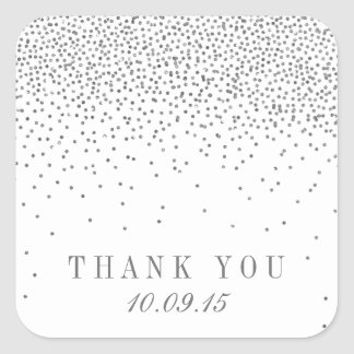 Vintage Glam Silver Confetti Wedding Thank You Square Sticker