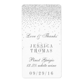 Vintage Glam Silver Confetti Wedding Wine Bottle Shipping Label