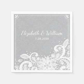 VIntage Glam White Lace Rustic Wedding Custom Paper Napkins