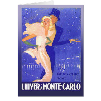 Vintage Glamorous Black Tie Couple in Monte Carlo Greeting Card
