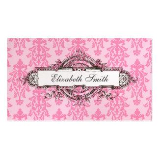 Vintage Glamour Damask Business Card Pink