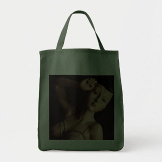 Vintage Glamour Girl Mannequin Reusable Green Grocery Tote Bag