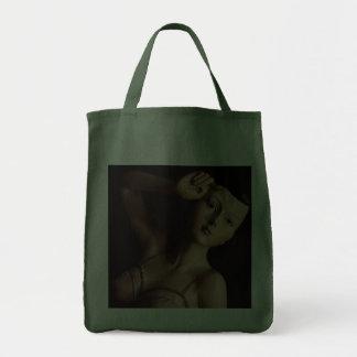 Vintage Glamour Girl Mannequin Reusable Green Canvas Bag