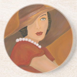 Vintage Glamour Girl Painting Coaster