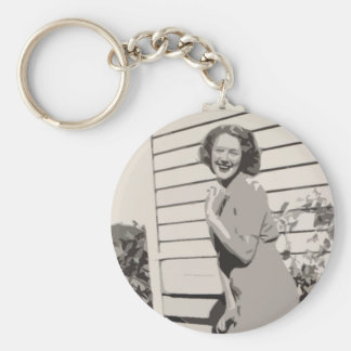 Vintage Glamour Basic Round Button Key Ring