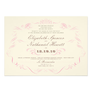 Vintage Glamour Wedding Invitation Blush Pink