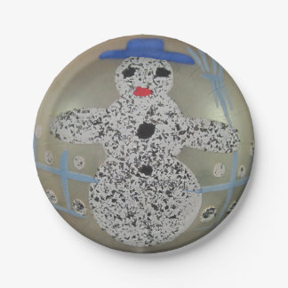 Vintage Glass Christmas Ball Snowman Hand Painted Paper Plate