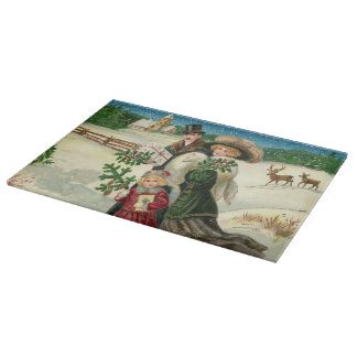 Vintage glass cutting board Christmas Family