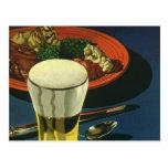 Vintage Glass of Beer with Dinner Postcard