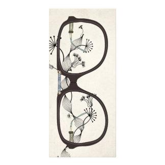 vintage glasses flower bookmark full colour rack card
