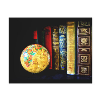 Vintage Globe and Books Canvas Print