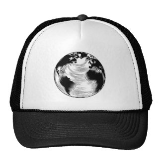 Vintage globe illustration hats