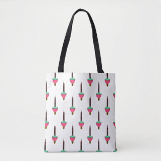 Vintage Glowing Bubble Light Pattern on White Tote Bag