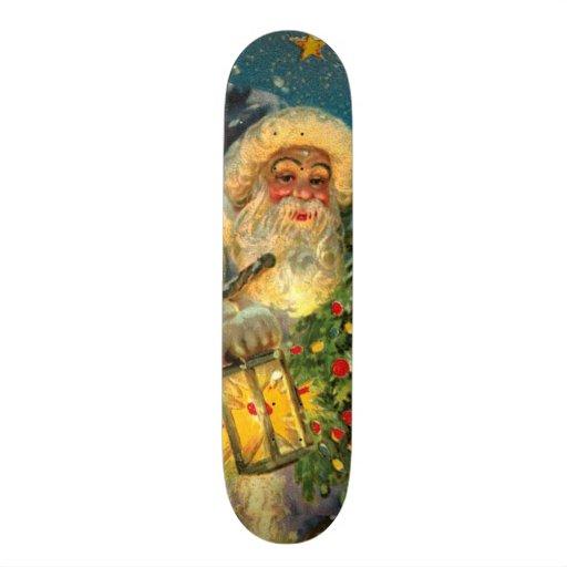 Vintage Glowing Santa Claus Christmas Wall Board Skateboard