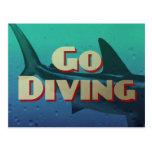 Vintage Go Diving Scuba Postcard