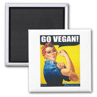 Vintage Go Vegan Square Magnet