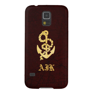 Vintage Gold Anchor Maroon Leather Nautical Look Galaxy S5 Cases