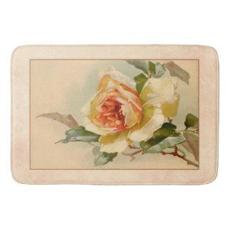 Vintage Gold and Coral Rose Bath Mat