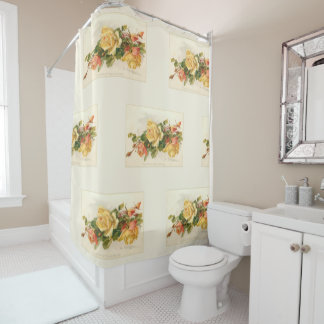 Vintage Gold and Pink Roses Shower Curtain