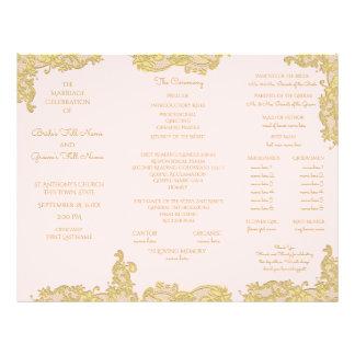 Vintage Gold and Pink Tri Fold Wedding Program 21.5 Cm X 28 Cm Flyer