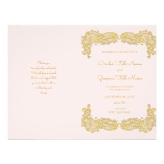 Vintage Gold and Pink Wedding Program 21.5 Cm X 28 Cm Flyer