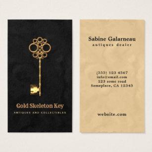 Furniture dealer business cards business card printing zazzle uk vintage gold antique skeleton key antiques dealer business card reheart Images