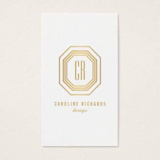 Vintage Gold Art Deco Initials Monogram Business Card
