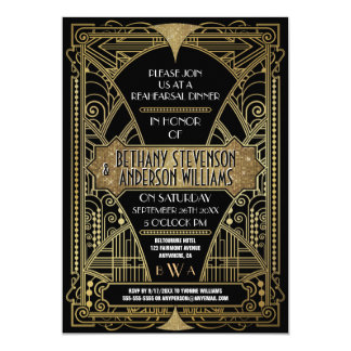 Vintage Gold Art Deco Rehearsal Dinner Invitations