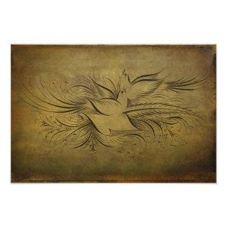 Vintage Gold Birds Line Drawings Art Photo
