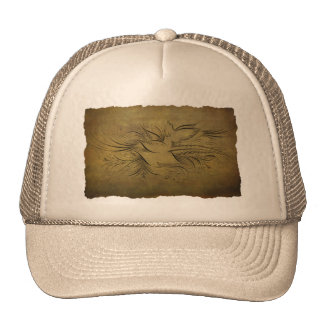 Vintage Gold Birds Line Drawings Mesh Hats