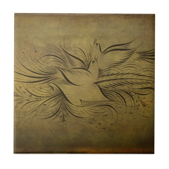 Vintage Gold Birds Line Drawings Small Square Tile