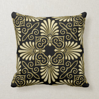 Vintage Gold Black Damask Art Deco Fan Cushion