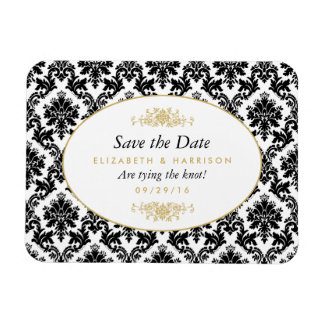 Vintage Gold, Black & White Damask Save The Date Rectangular Photo Magnet