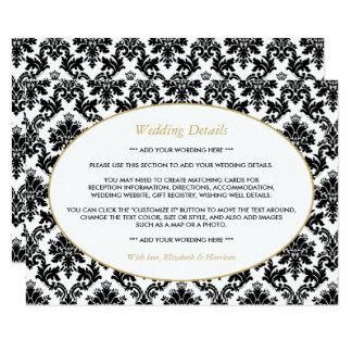 Vintage Gold, Black & White Damask Wedding Detail 11 Cm X 16 Cm Invitation Card