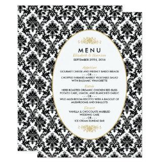 Vintage Gold, Black & White Damask Wedding Menu 11 Cm X 16 Cm Invitation Card