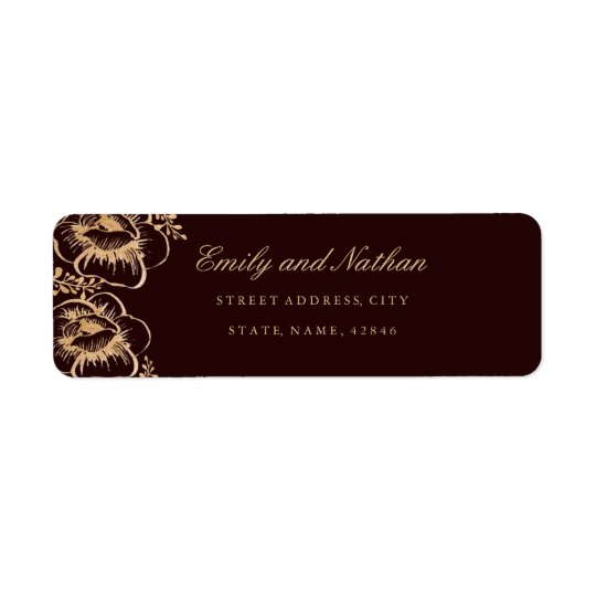 Vintage Gold Burgundy Floral Return Address Label