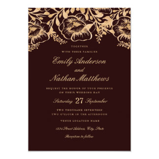 Vintage Gold Burgundy Floral Wedding Invitation