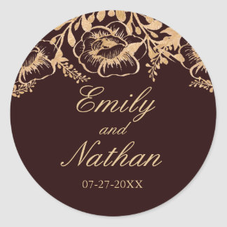 Vintage Gold Burgundy Floral Wedding Sticker