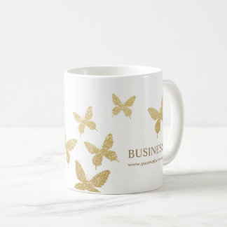 Vintage Gold Butterflies Elegant Business Coffee Mug