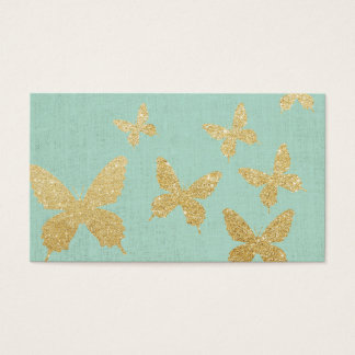 Vintage Gold Butterflies Elegant Green Linen Business Card