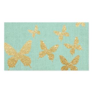 Vintage Gold Butterflies Elegant Green Linen Pack Of Standard Business Cards