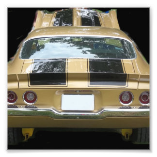 Vintage gold classic car with black racing stripes photo art