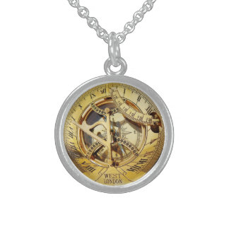 Vintage Gold Compass image Sterling Silver Necklace