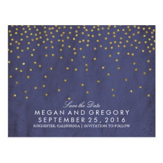 vintage gold confetti navy save the date postcard