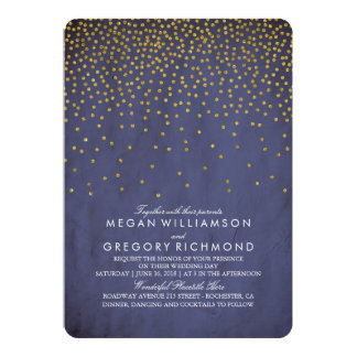 Vintage Gold Confetti Navy Wedding 13 Cm X 18 Cm Invitation Card