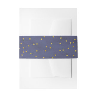 Vintage Gold Confetti Navy Wedding Invitation Belly Band