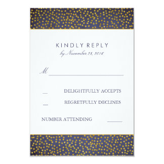 Vintage Gold Confetti Navy Wedding RSVP Cards 9 Cm X 13 Cm Invitation Card