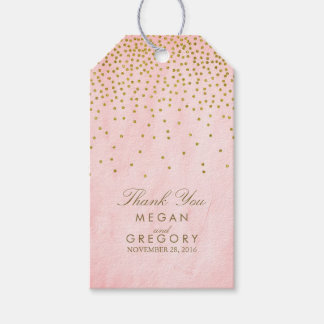 Vintage Gold Confetti Pink Wedding